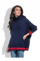 Granatowy Sweter z Golfem z Kontrastowymi Paskami