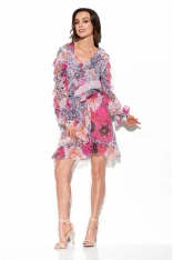 Wzorzysta Szyfonowa Sukienka z Falbankami - Druk 16