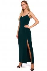 Zielona Maxi Sukienka na Ramiączkach z Połyskiem