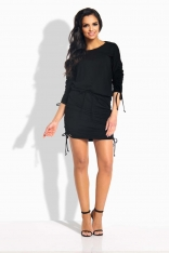 Czarna Sukienka z Wiązanymi Ściągaczami