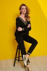 Czarny Komplet Dresowy Spodnie i Bluza w Serek