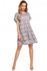Szara Zwiewna Sukienka Koronkowa z Mini Rękawkiem