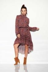 Zwiewna Sukienka Asymetryczna Z Falbankami we Wzory Druk 9