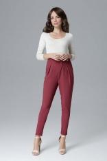 Bordowe Nowoczesne Kopertowe Spodnie