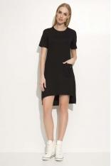 Czarna Sukienka Asymetryczna o Luźnym Kroju z Kieszonką