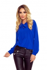 Niebieska Bluzka Elegancka z Wiązaną Szarfą w Kolorowe Ważki