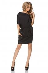 Czarna Sukienka Luźna o Sportowym Kroju z Paskiem