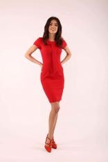 Czerwona Dopasowana Sukienka z Krawatką