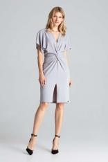 Szara Elegancka Sukienka Midi z Zakładanym Dekoltem