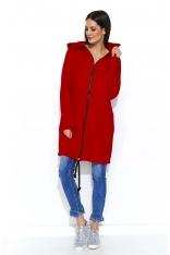 Czerwona Długa Bluza na Suwak z Kapturem