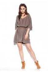 Swetrowa Luźna Sukienka z Ażurowym Wzorem - Cappuccino