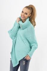 Miętowy Sweter-Ponczo z Golfem z Ozdobnymi Guzikami