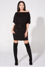 Czarna Sukienka Dzianinowa z Nakładanymi Kieszeniami