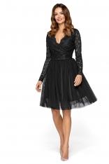 Czarna Wieczorowa Sukienka z Tiulu i Koronki