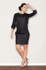 Czarna Sukienka Mini z Rękawem 3/4 w Stylu Casual