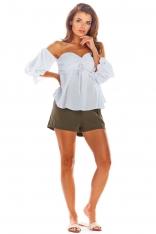 Biała Bluzka Carmen z Długim Rękawem
