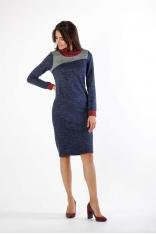 Granatowa Sukienka z Golfem z Kolorowymi Wstawkami