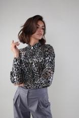 Elegancka Koszula na Stójce z Ozdobnymi Guzikami - Panterka