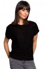Czarny Asymetryczny Sweter z Krótkim Kimonowym Rękawem