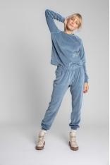 Spodnie Joggers z Welurowej Dzianiny - Niebieskie