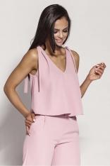 Różowa Zwiewna Bluzka-Top Wiązana na Ramionach