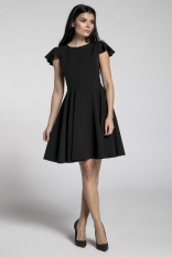 Czarna Rozkloszowana Sukienka z Rękawkiem Typu Motylek