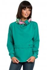 Zielona Ciekawa Bluza Dresowa z Wzorzystym Kołnierzem