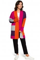 Pomarańczowy Dłuższy Sweter Kardigan w Kolorowe Prostokąty