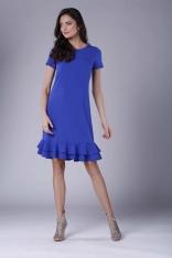 Chabrowa Uniwersalna Midi Sukienka z Małą Falbanką
