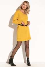 Żółta Krótka Sukienka Wełniana z Dekoltem V