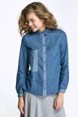 Jeansowa Klasyczna Koszula z Kontrastową Plisą