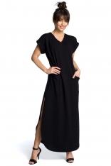 Czarna Wyjściowa Długa Sukienka z Rozcięciami na Bokach