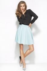 Niebieska Pikowana Mini Spódnica z Koła