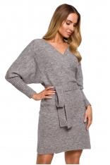 Swetrowa Mini Sukienka z Kopertowym Dekoltem - Szara