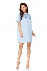 Błękitna Luźna Sukienka z Kołnierzykiem Wykończona Falbankami