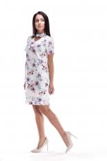 Biało Fioletowa Sukienka Wizytowa w Kwiaty z Chockerem