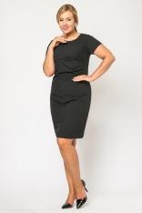 Koktajlowa Czarna Sukienka z Marszczeniem Moda XL