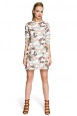 Sukienka Trapezowa o Linii A z Printem Moro Model 2