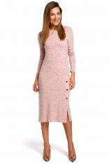 Różowa Elegancka Swetrowa Sukienka Midi z Guzikami