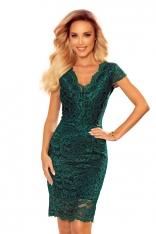 Koronkowa Sukienka z Kobiecym Dekoltem V - Zielona