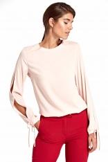 Różowa Elegancka Bluzka z Wiązaniem przy Rękawach