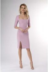 Jasnoróżowa Ołówkowa Sukienka z Dekoltem Karo