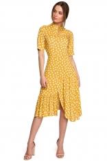 Sukienka w Grochy z Asymetryczną Falbanką - Żółta