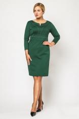Dzianinowa Zielona Sukienka Midi z Długim Rękawem PLUS SIZE
