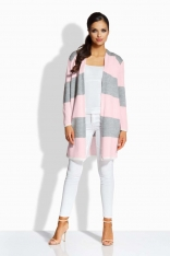 Jasnoszary Różowy Długi Sweter w Pasy bez Zapięcia