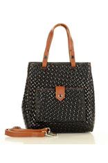 Czarny Skórzany Kuferek Na Ramię Messenger Bag