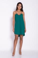 Zielona Elegancka Luźna Sukienka z Wydłużonym tyłem na Wesele