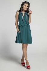 Zielona Wygodna Sukienka w Sportowym Stylu z Troczkami