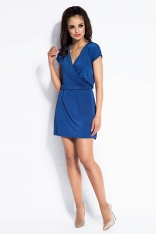 Niebieska Sukienka Mini z Kopertowym Dekoltem