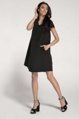 Trapezowa Sukienka w Serek z Kieszeniami - Czarna
